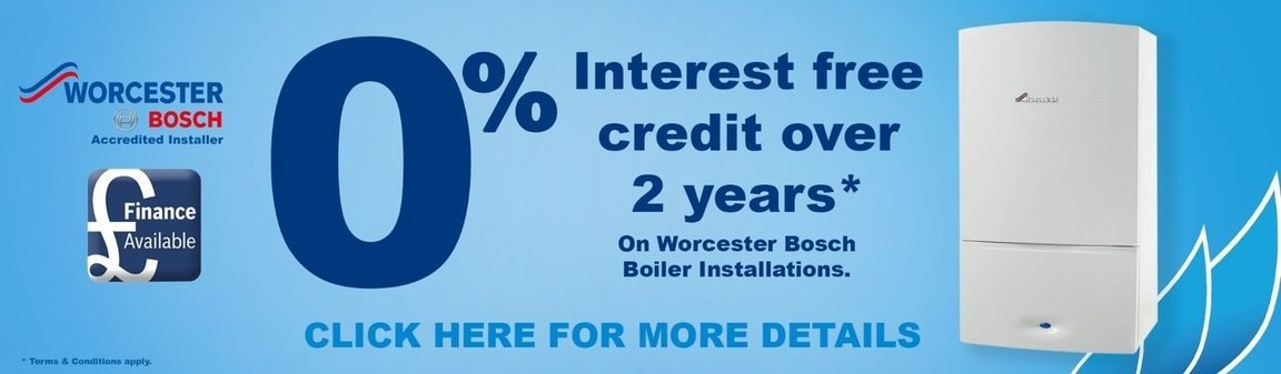 Interest free credit over 2 years on Worcester Bosch boiler installations, terms and conditions apply